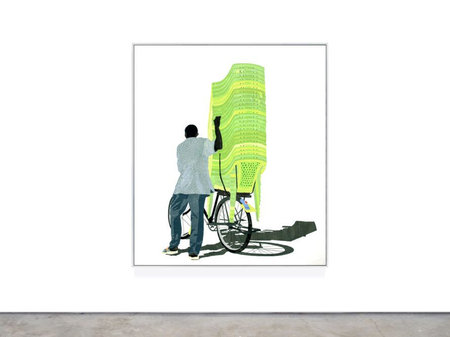 Art depicts people pulling plastic chairs on the lawn on a bicycle