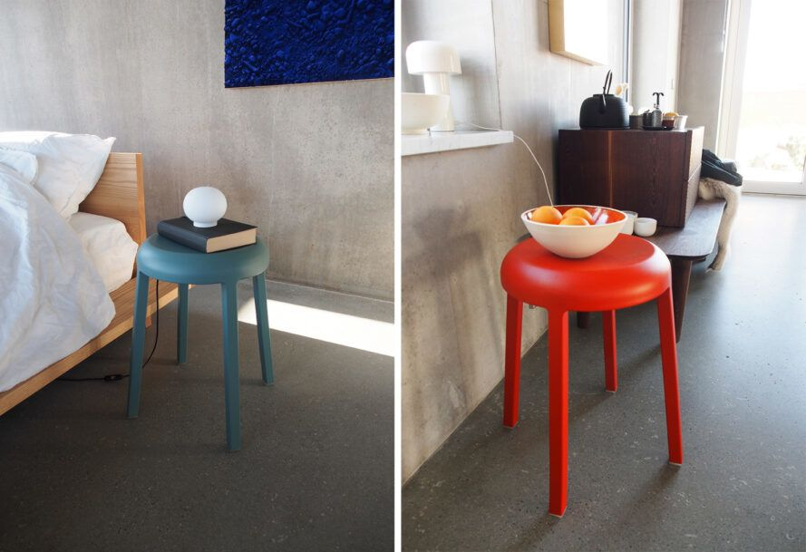 Two images. On the left, a short blue stool with books on top. To the right, a red/orange stool with a bowl of fruit on it.