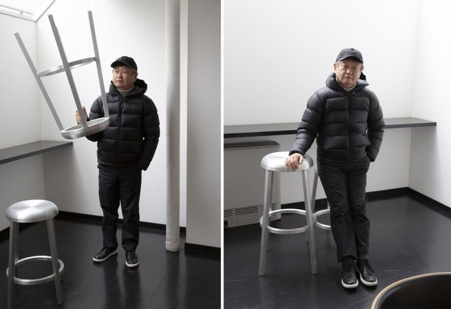 Two images. On the left, a person in all black holding an aluminum chair in the air upside down. To the right, the same person posing next to the stool sitting on the ground.