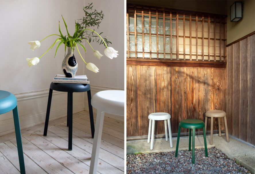 Two images. On the left, three stools in blue, black and white, with a potted plant sitting on the black stool. To the right, three stools in white, green and beige in front of a wood wall.