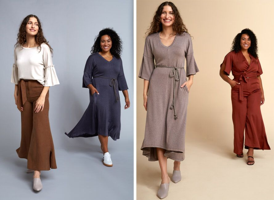 Two images. To the left, a model wearing a white top and brown pants, with a model to the right wearing a blue dress. To the right, a model wearing a gray dress and a model to the right wearing a brown jumpsuit.