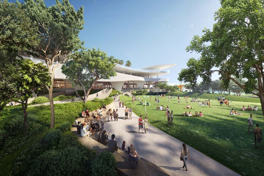 rendering of paths and parks outside large white building