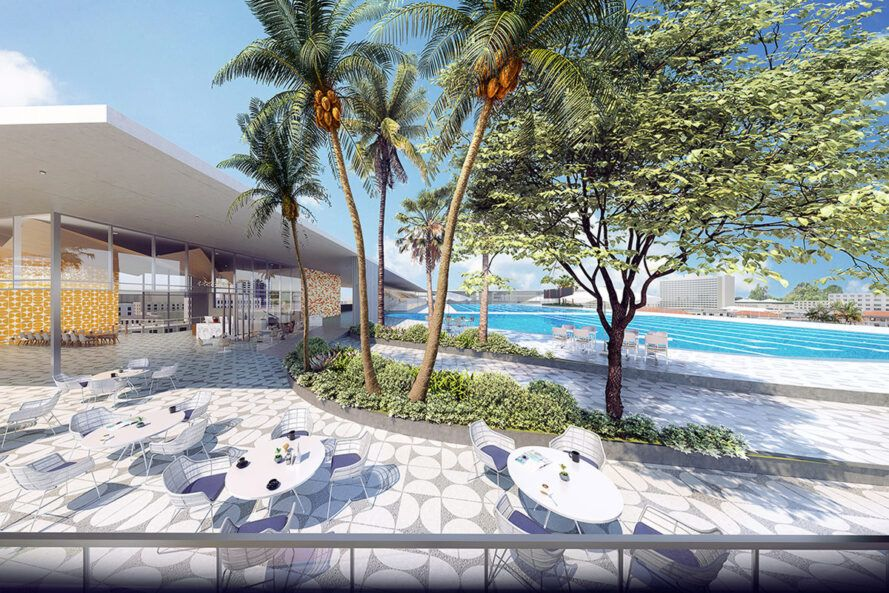 rendering of shaded patio area near pool