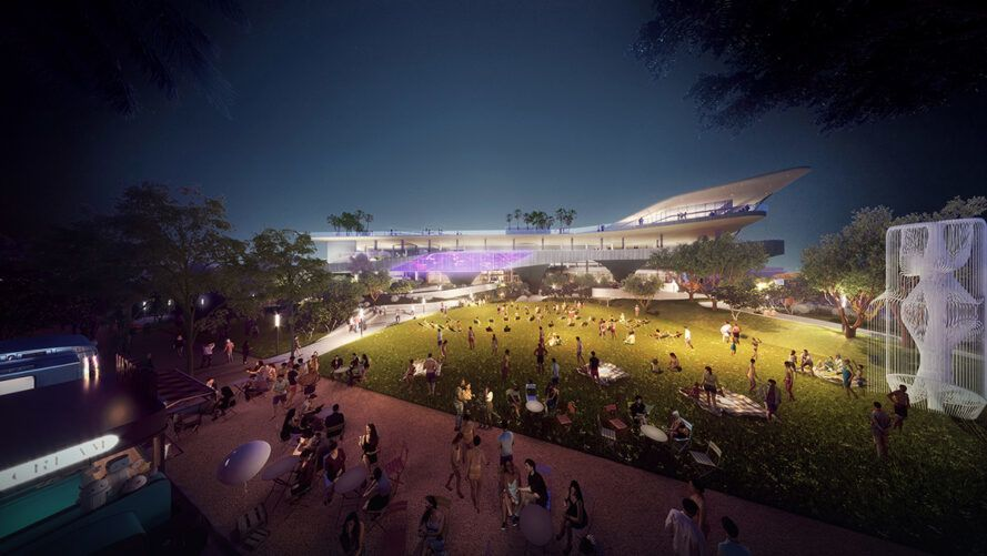 rendering of parks outside large building at night