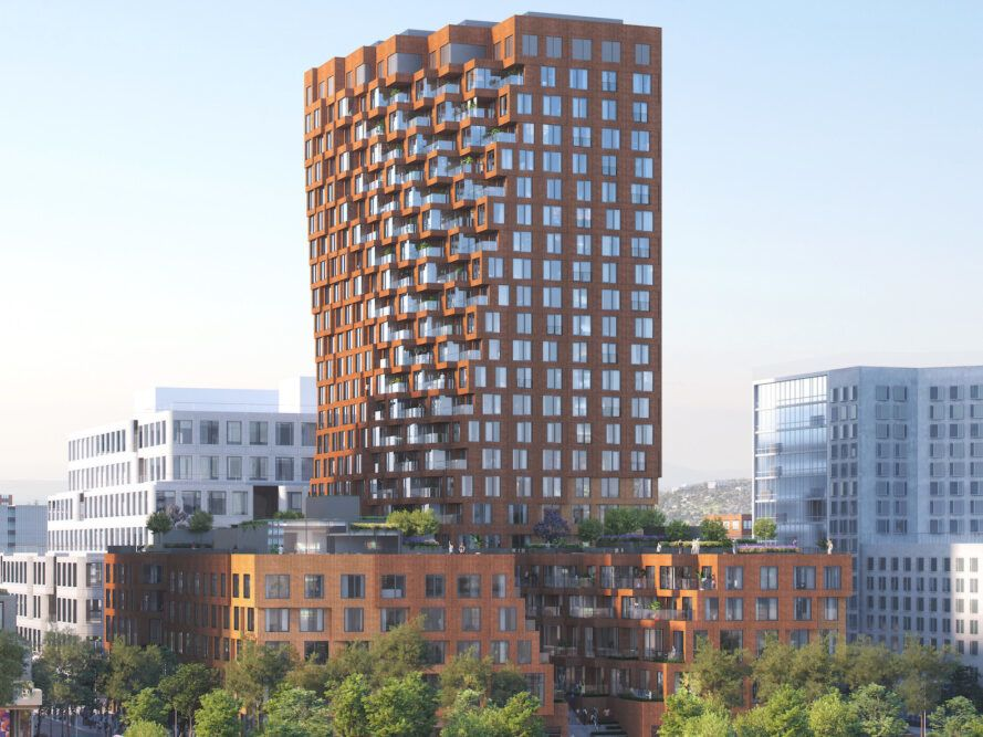 rendering of tall, twisting brown tower
