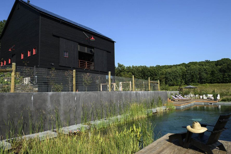 A natural swimming pool surrounded by greenery, with a black house elevated to the left of the pool and it's attached wooden deck.