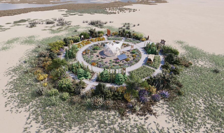 rendering of geodesic dome surrounded by gardens
