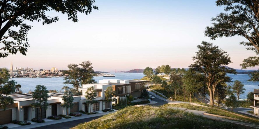 hill overlooking townhomes