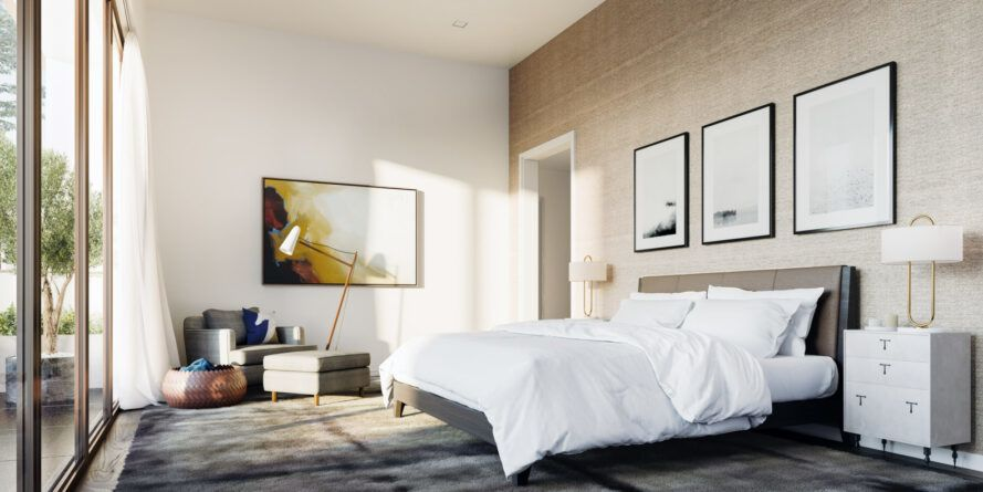 white bed in white and beige room