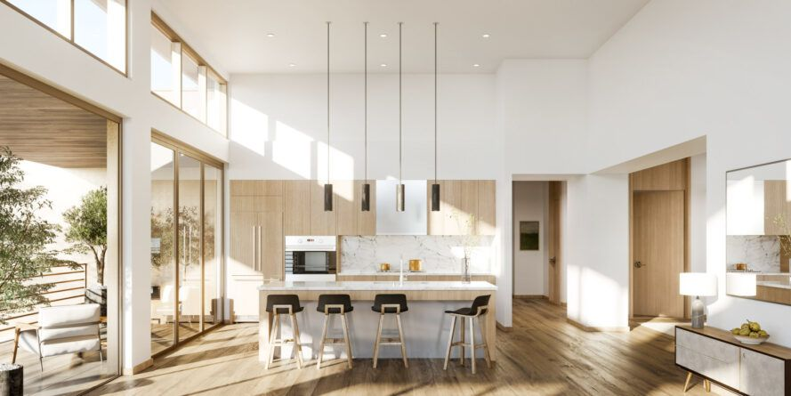 white and light wood kitchen with high ceilings