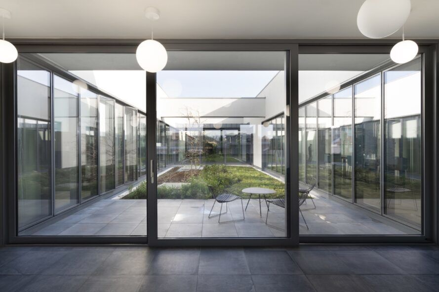 Glass wall overlooking the courtyard