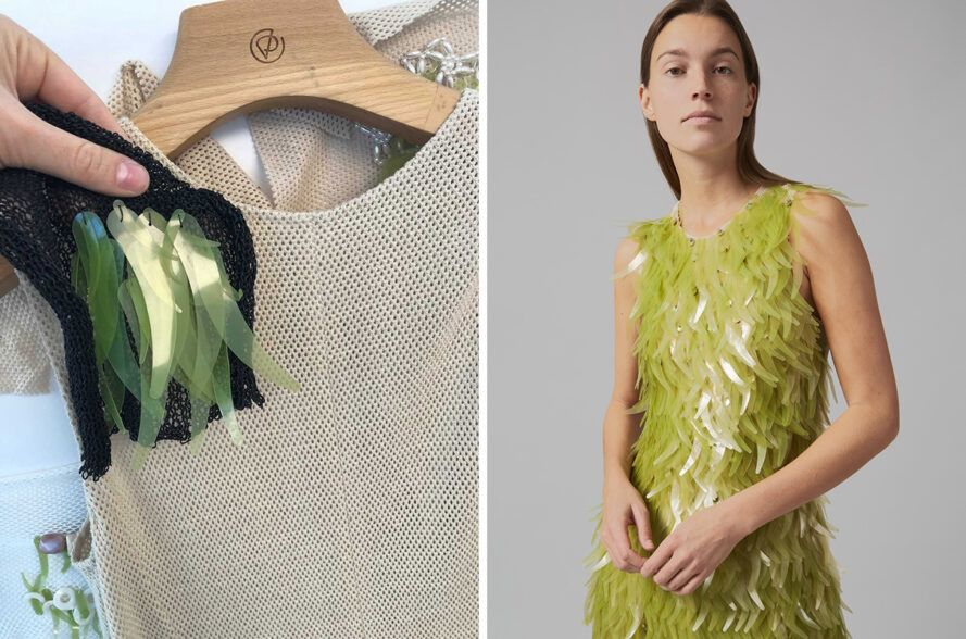 person attaching green algae sequins to tan dress form