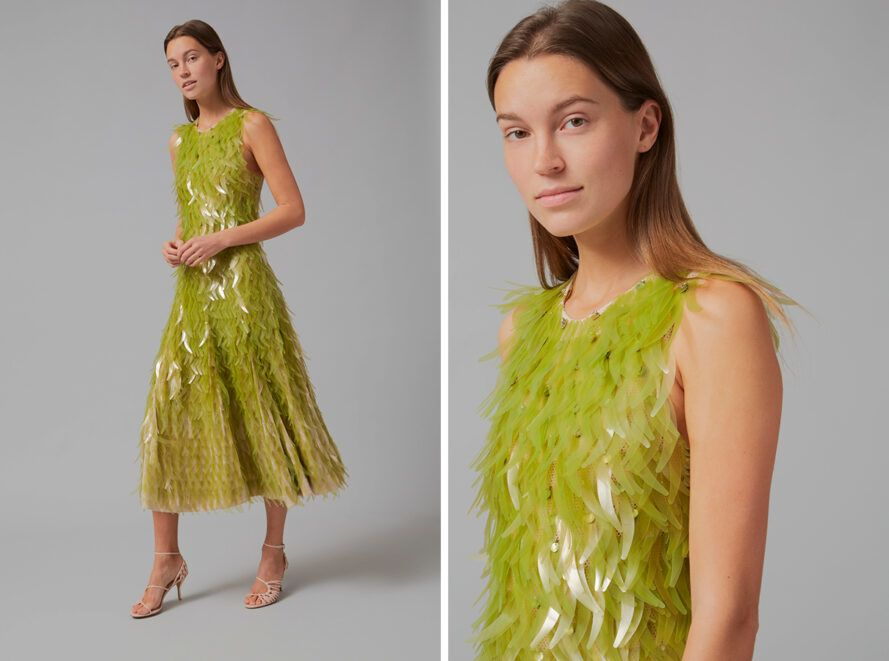 person wearing flowing green sequin dress