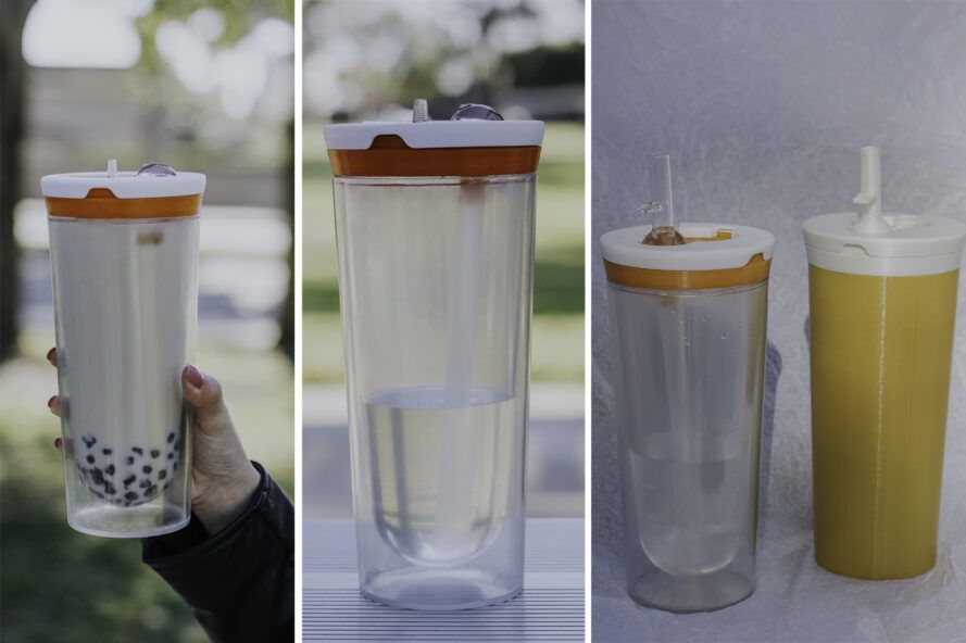 Three images. On the left, A hand holding a reusable boba cup with an orange ring around the lid. In the middle, a reusable boba cup with an orange ring around the lid sits on a table. On the right, a clear reusable boba cup with an orange ring around the lid next to a boba cup with an opaque yellow coating.