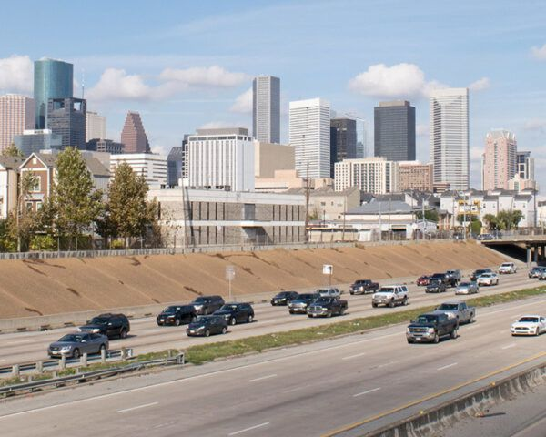 Houston skyline near i-45 highway