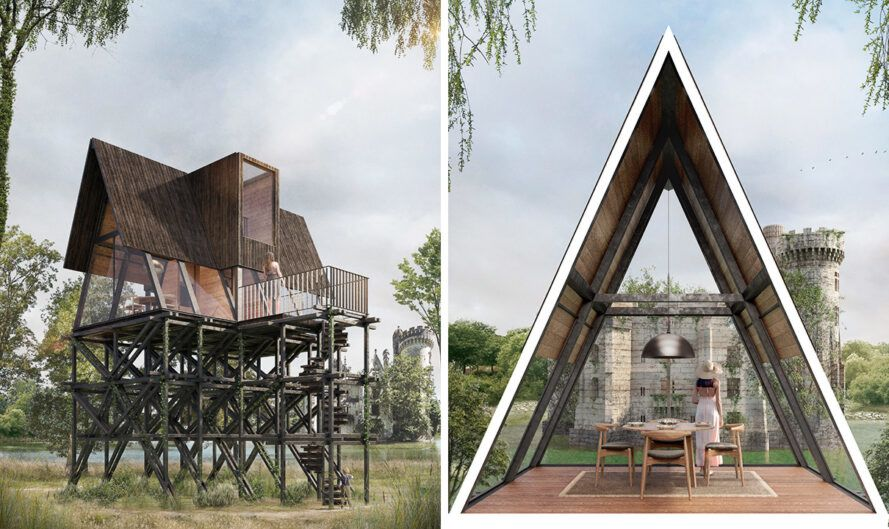 rendering of a tall, narrow wood treehouse and an A-frame cabin