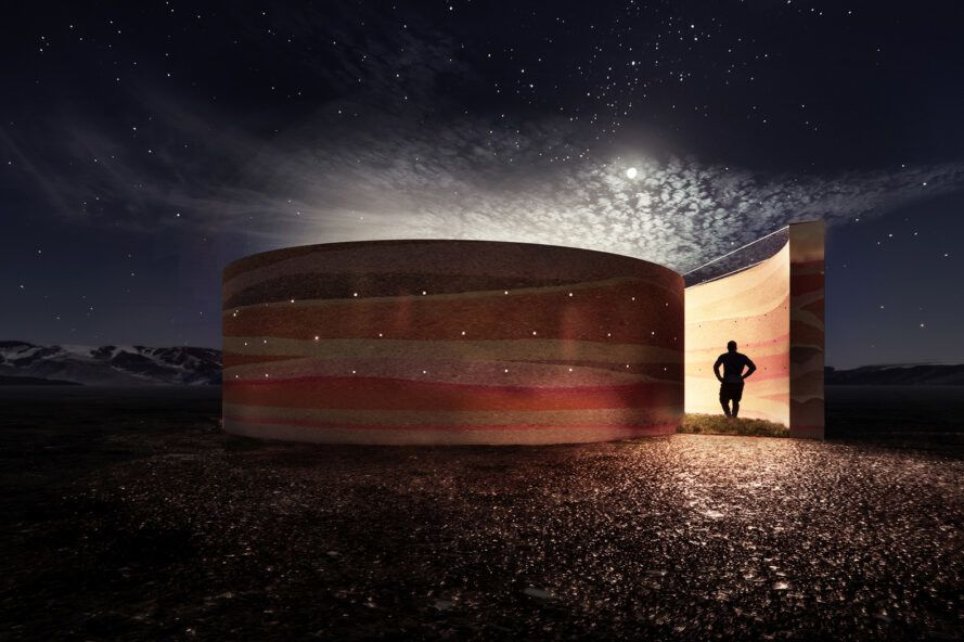 rendering of round, rammed earth structure