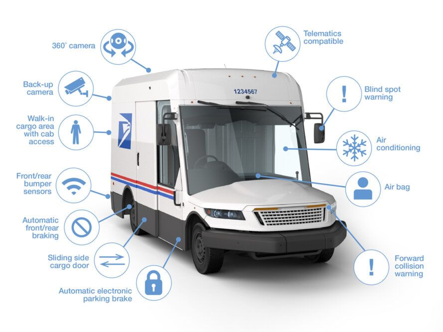 diagram of safety features on USPS van
