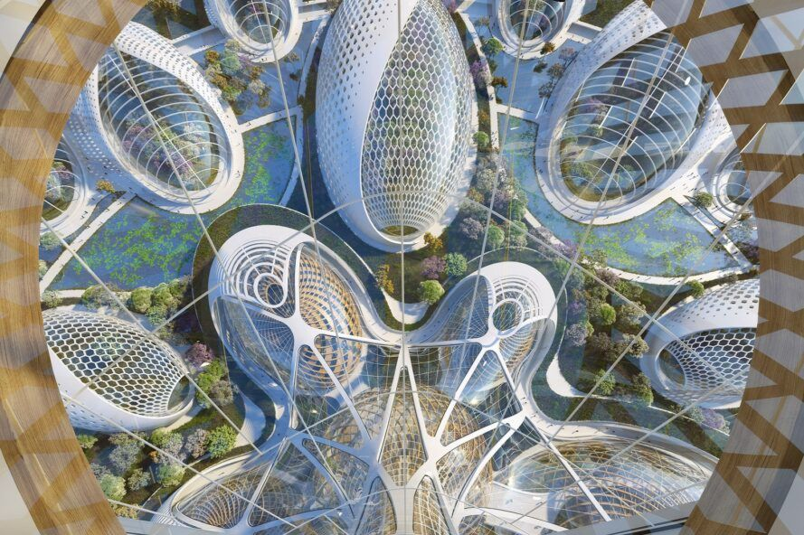 aerial rendering of dome-shaped greenhouses