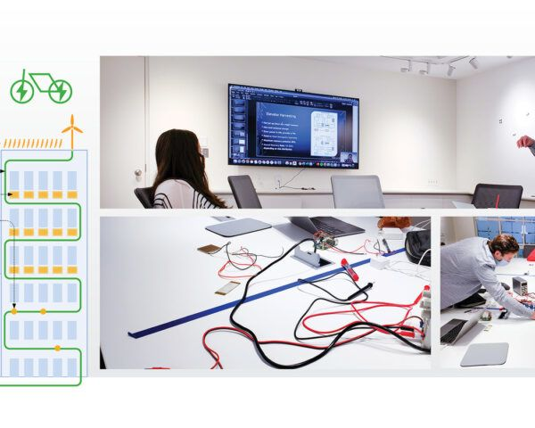 To the left, a diagram of various energy sources. To the right, three images of people working with technology in a lab.