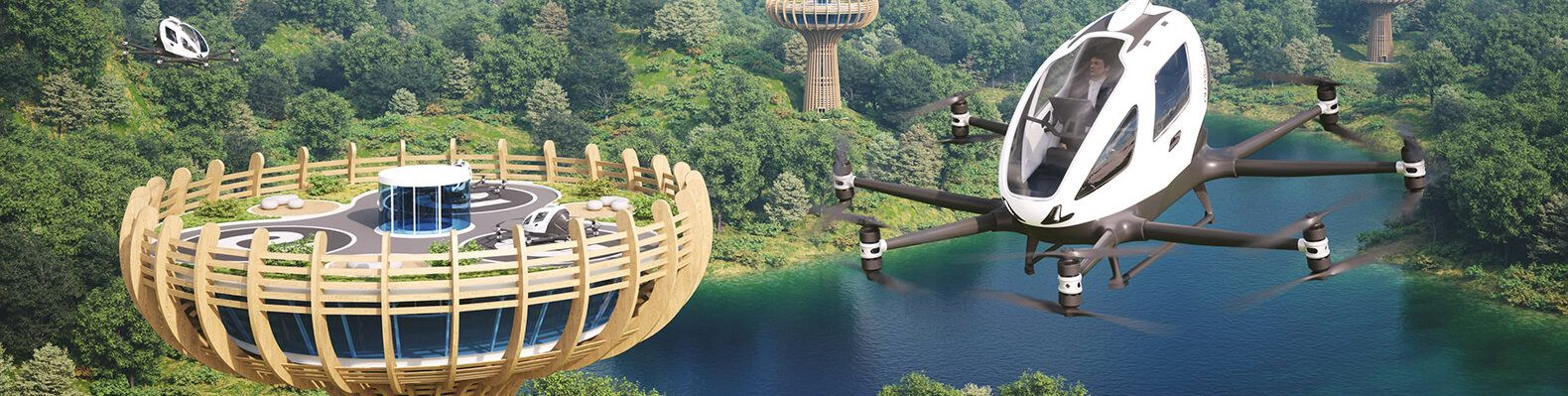 autonomous planes flying around wood landing towers