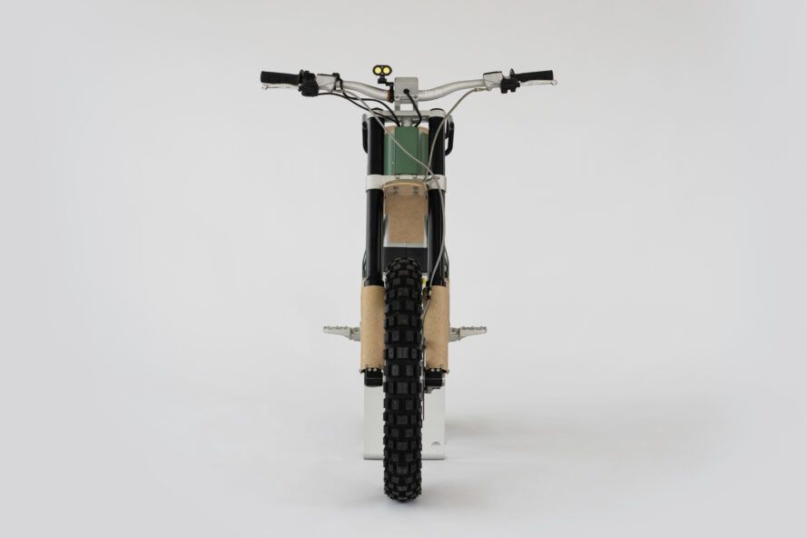 front of green electric bike