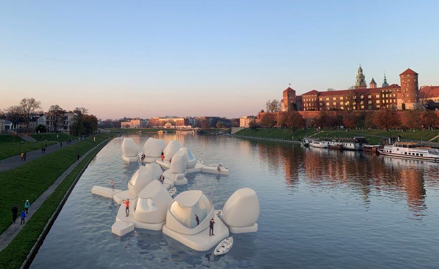 series of 3D-printed pods floating on a river
