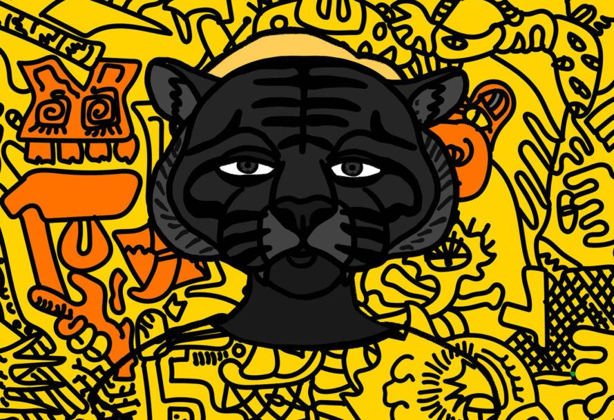 A pop art piece of a black, jungle cat-like animal wearing a yellow shirt against a yellow and orange background. An example of hashmask image that accompanies a Non-Fungible Token
