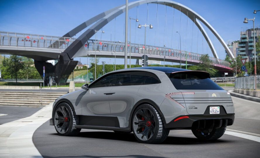 rendering of light gray electric vehicle