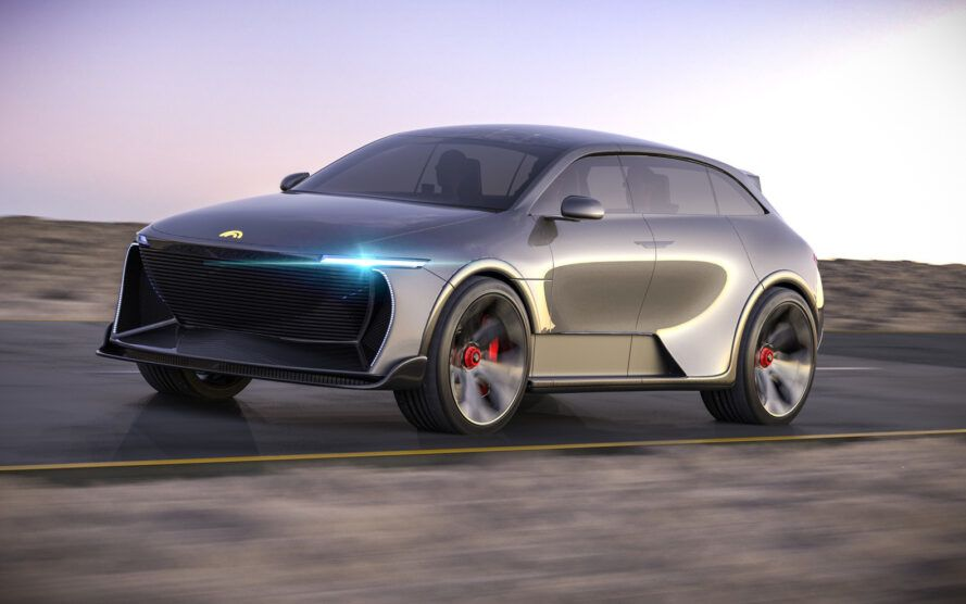rendering of gray electric SUV with LED headlights