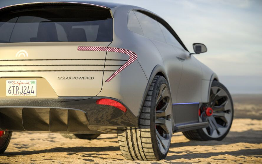 rendering of back of solar-powered SUV