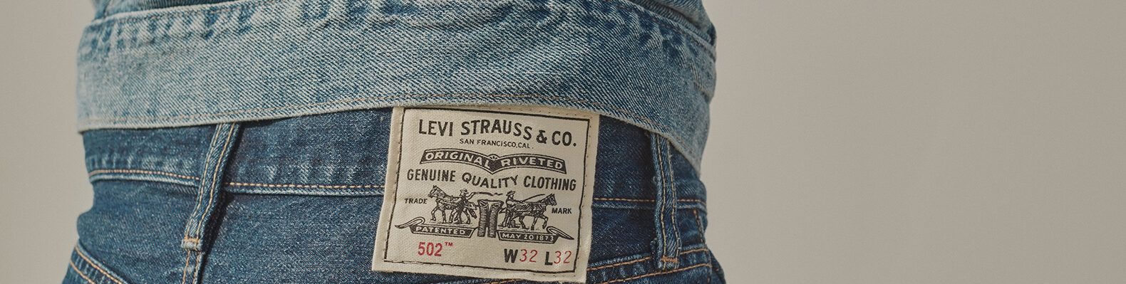 close-up of Levi Strauss & Co. label on the back of a pair of jeans