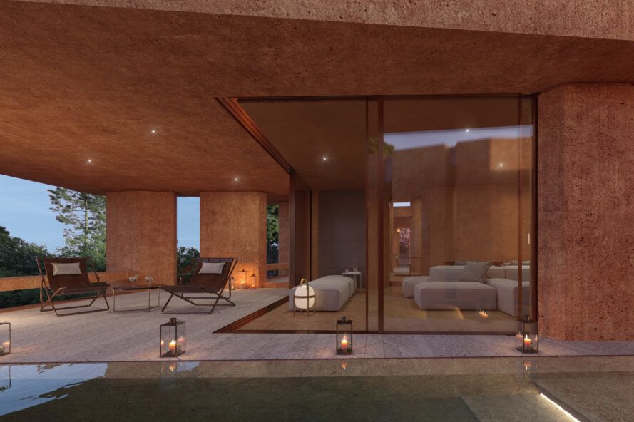 glass walls opening to lead to patio with lounge chairs and small pool