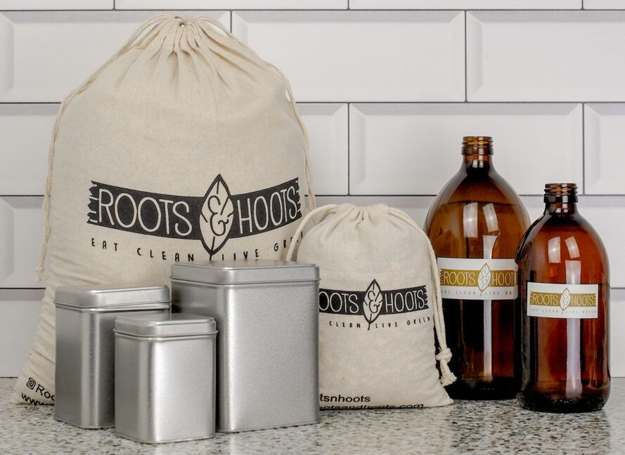 Bags, bottles and containers of pantry goods.