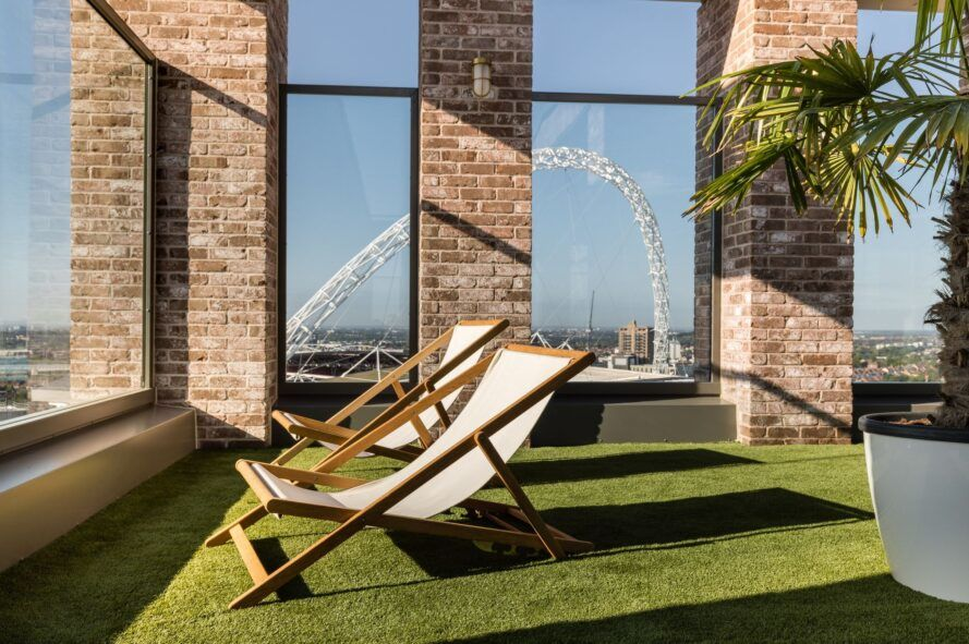 Sunloungers on the roof terrace.