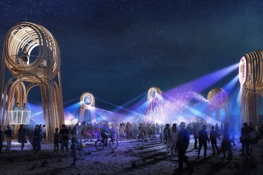 rendering of round wood observation towers emitting purple and blue lights
