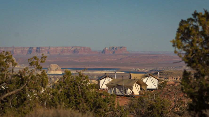 series of glamping tents in desert