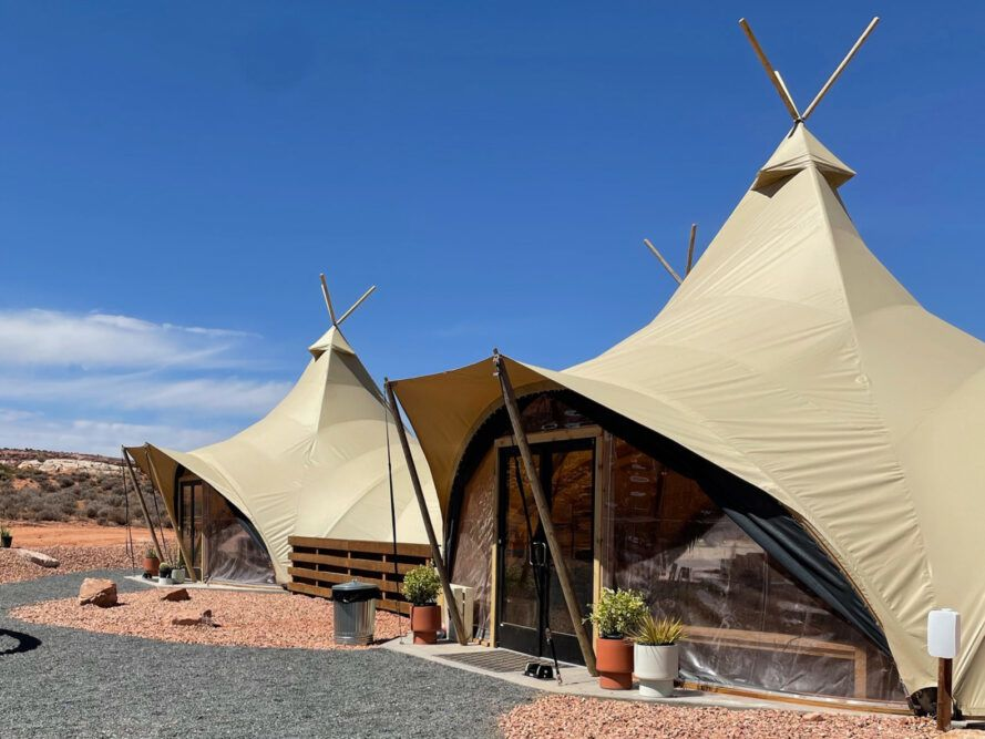 canvas tents with glass doors