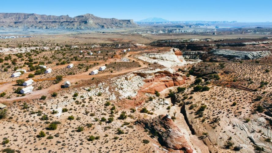 aerial view of glamping tents in Utah's Grand Staircase-Escalante