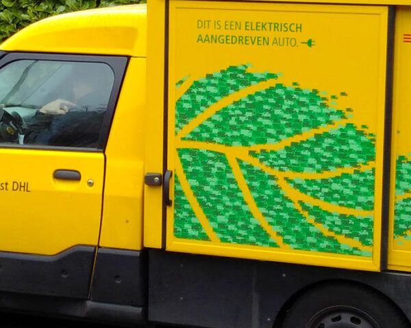 yellow and green electric delivery van for DHL
