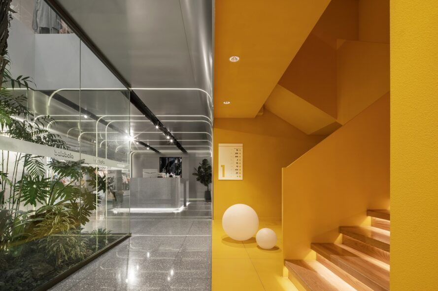 To the left, a gray hallway with a glass box encasing green plants. To the right, a connected yellow stairwell.