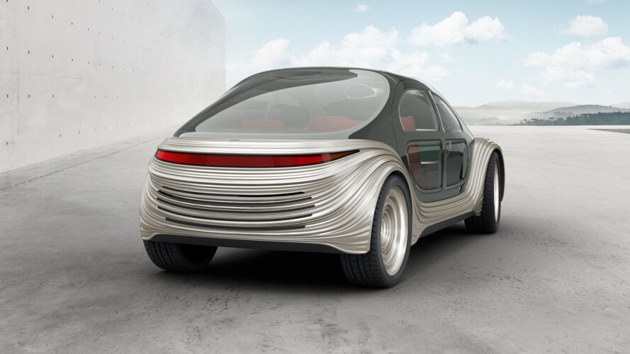 back of gray electric car
