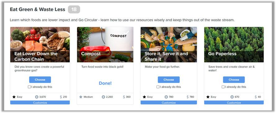 BrightAction screenshot of ways to stop food waste