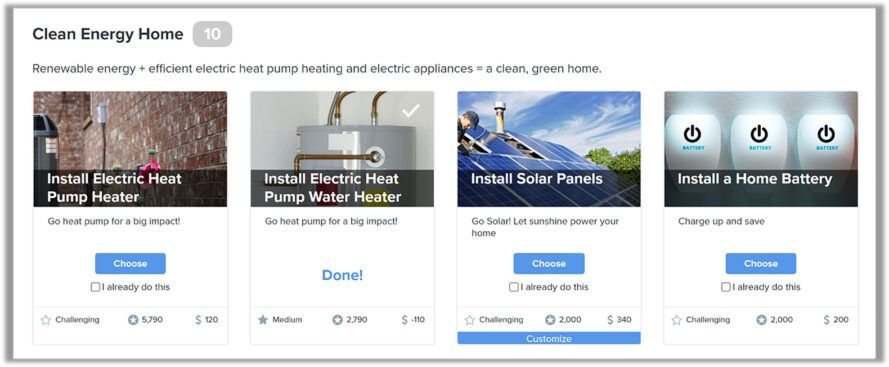 BrightAction screenshot of ways to save energy at home