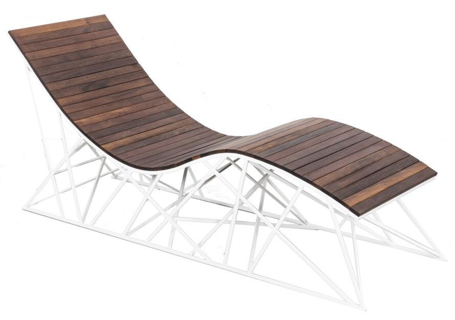 A wooden lounge chair against a white background.