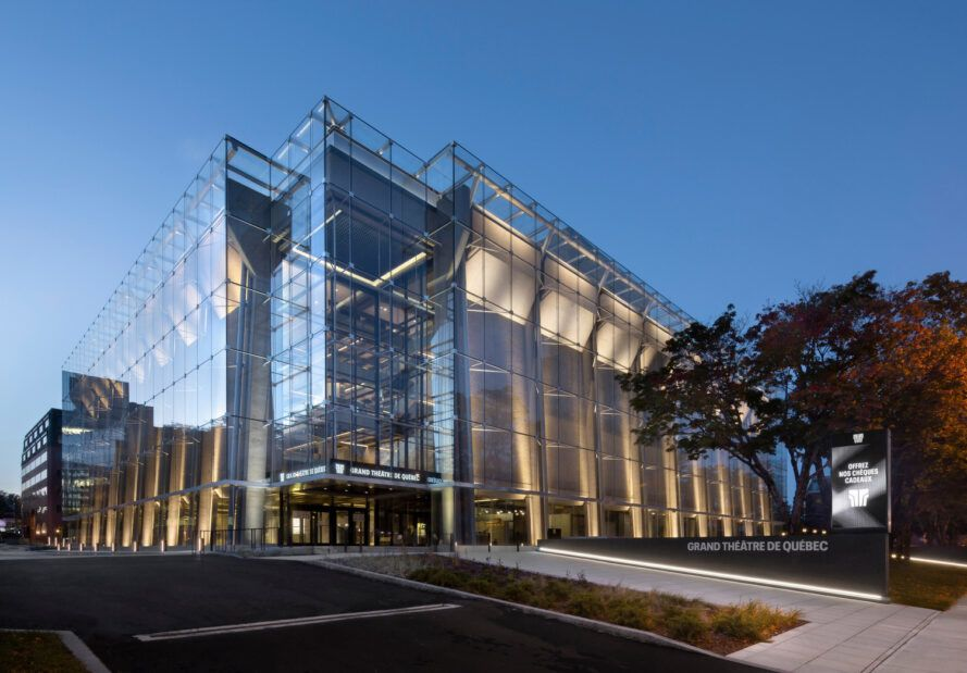 Grand Theatre de Quebec surrounded by glass curtain walls