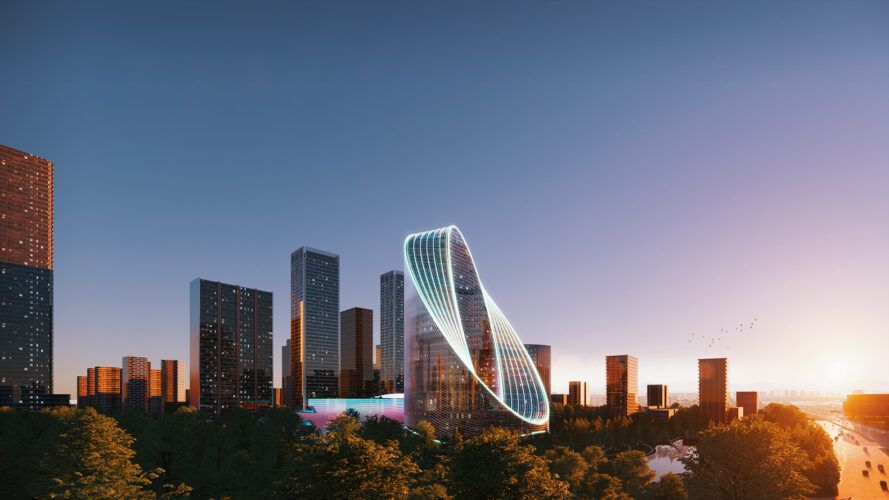 rendering of round glass tower lit up at dusk