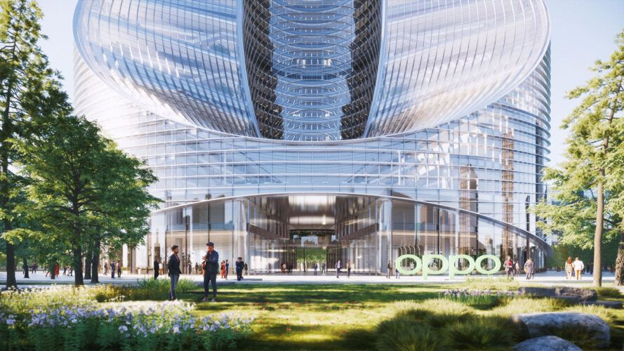rendering of entrance to glass building