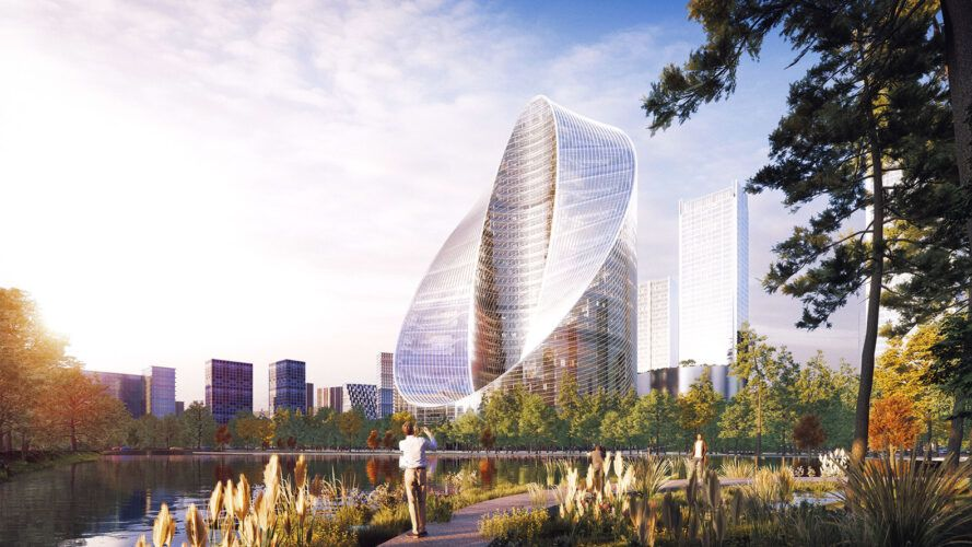 rendering of glass O-shaped tower glistening in the sunlight