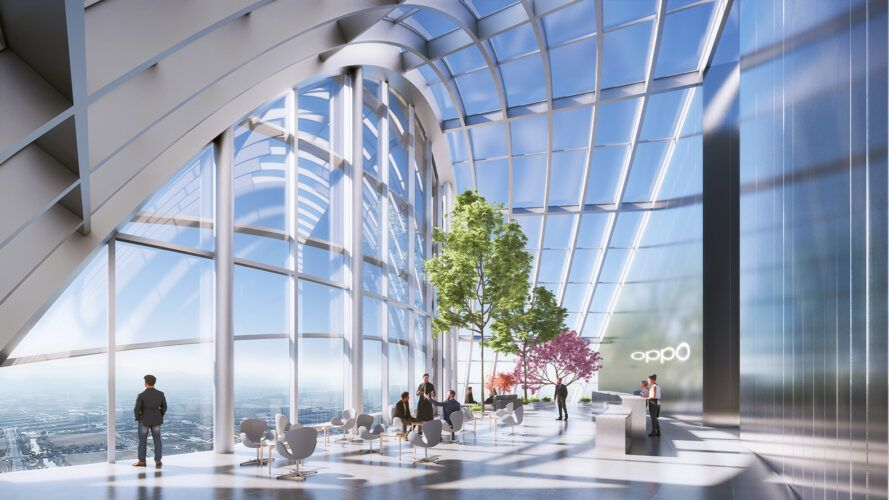 rendering of people walking near indoor trees in room with glass walls